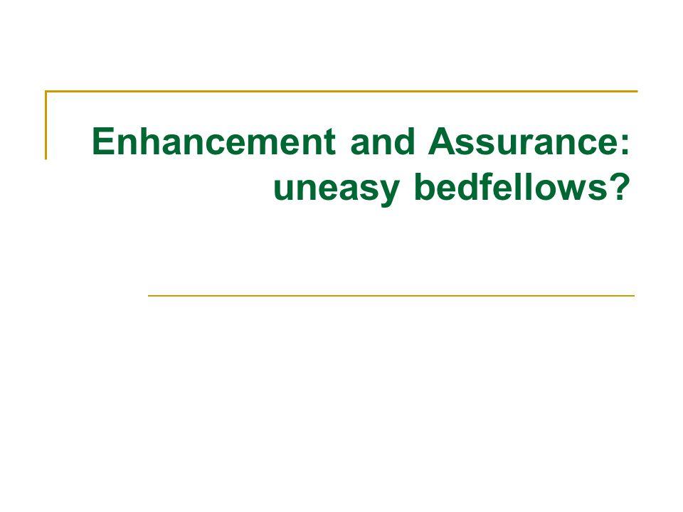 Enhancement and Assurance: uneasy bedfellows