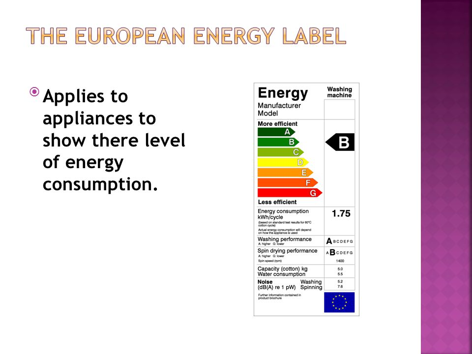 Applies to appliances to show there level of energy consumption.