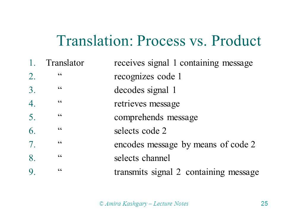 © Amira Kashgary – Lecture Notes 25 Translation: Process vs.