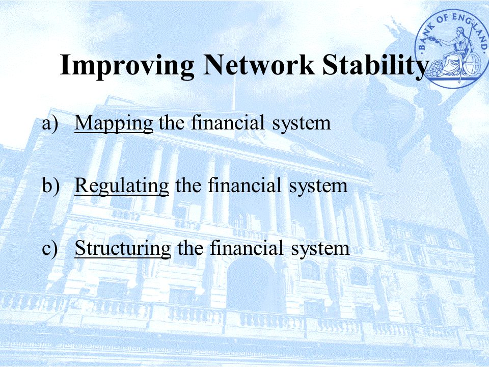 Improving Network Stability a)Mapping the financial system b)Regulating the financial system c)Structuring the financial system