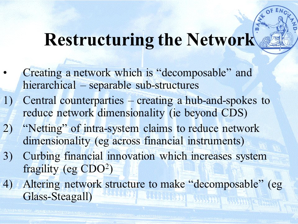 Restructuring the Network Creating a network which is decomposable and hierarchical – separable sub-structures 1)Central counterparties – creating a hub-and-spokes to reduce network dimensionality (ie beyond CDS) 2) Netting of intra-system claims to reduce network dimensionality (eg across financial instruments) 3)Curbing financial innovation which increases system fragility (eg CDO 2 ) 4)Altering network structure to make decomposable (eg Glass-Steagall)