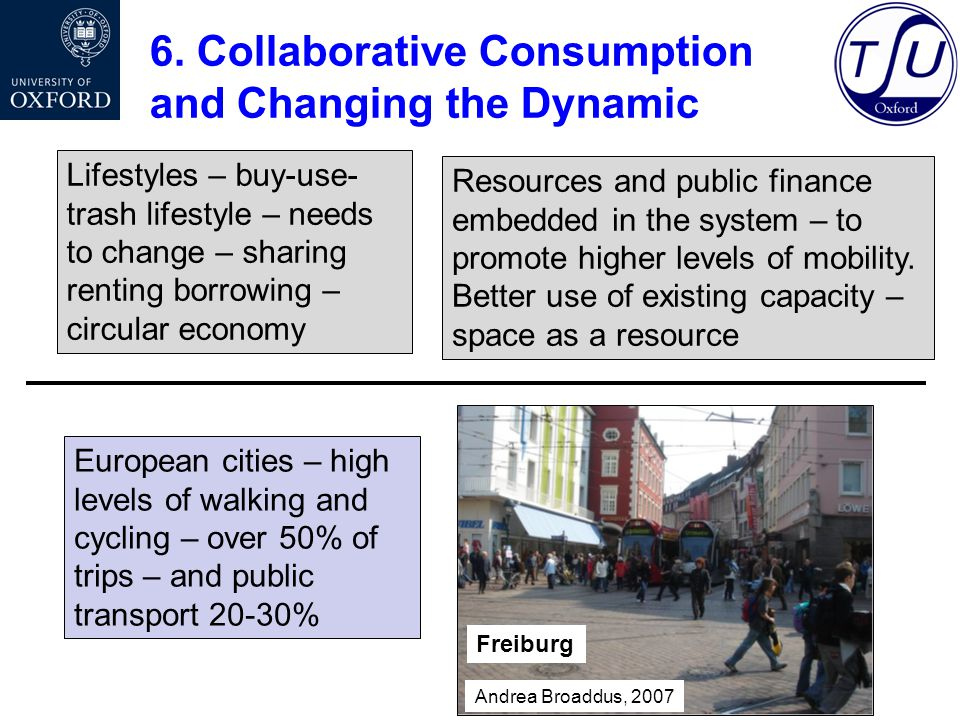 6. Collaborative Consumption and Changing the Dynamic Lifestyles – buy-use- trash lifestyle – needs to change – sharing renting borrowing – circular e