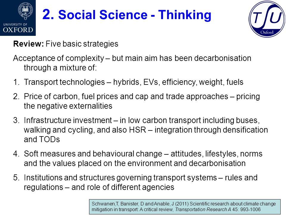 2. Social Science - Thinking Review: Five basic strategies Acceptance of complexity – but main aim has been decarbonisation through a mixture of: 1.Tr