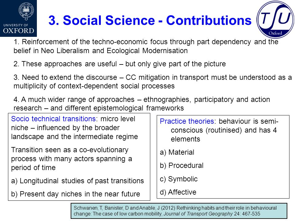 Social Sciences – as generators of new thinking and as initiators of new solutions Two propositions – not mutually exclusive but different pathways to meet the objective of sustainable mobility – and path breaking 1.Technological futures 2.Rethinking urban mobility