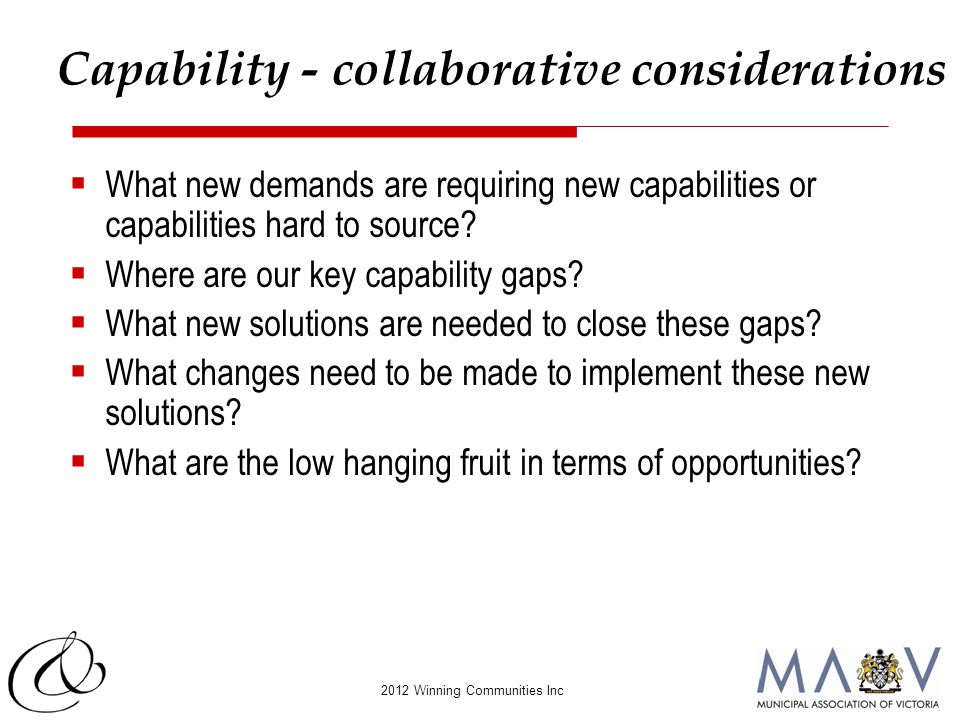 2012 Winning Communities Inc  What new demands are requiring new capabilities or capabilities hard to source?  Where are our key capability gaps? 