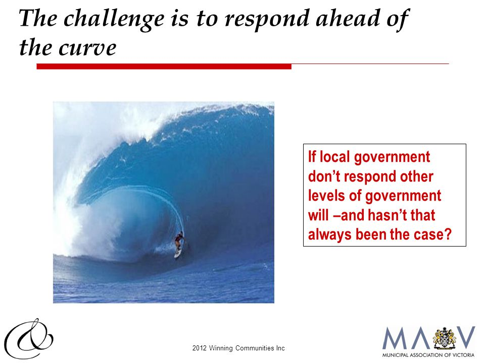 2012 Winning Communities Inc The challenge is to respond ahead of the curve If local government don't respond other levels of government will –and has