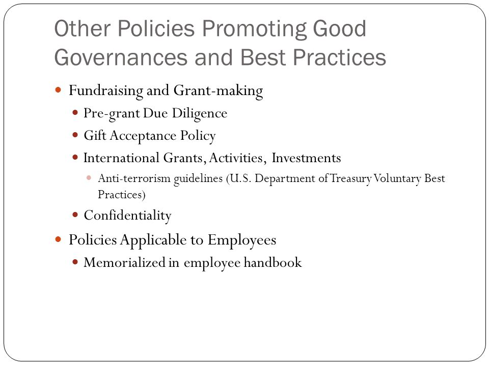 Other Policies Promoting Good Governances and Best Practices Fundraising and Grant-making Pre-grant Due Diligence Gift Acceptance Policy International Grants, Activities, Investments Anti-terrorism guidelines (U.S.