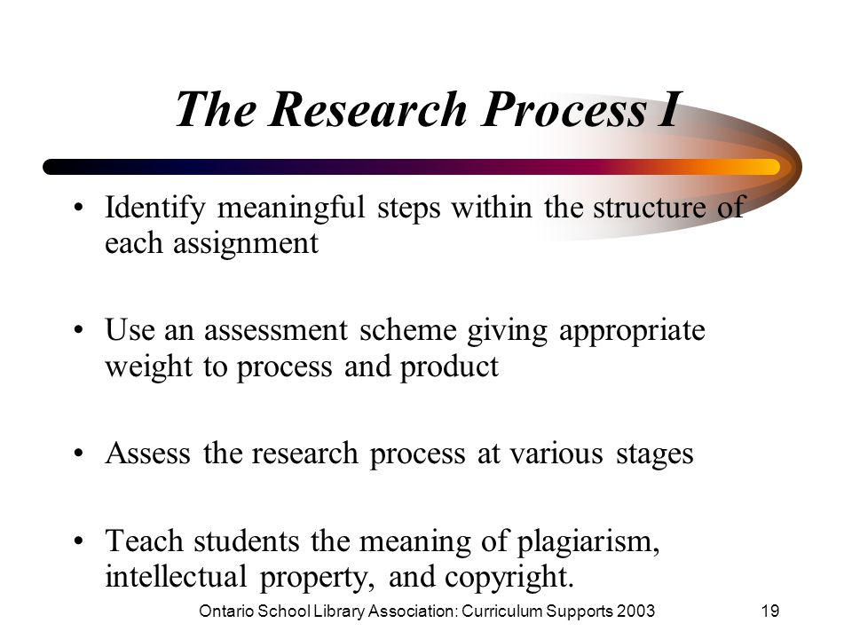 Ontario School Library Association: Curriculum Supports 200319 The Research Process I Identify meaningful steps within the structure of each assignment Use an assessment scheme giving appropriate weight to process and product Assess the research process at various stages Teach students the meaning of plagiarism, intellectual property, and copyright.