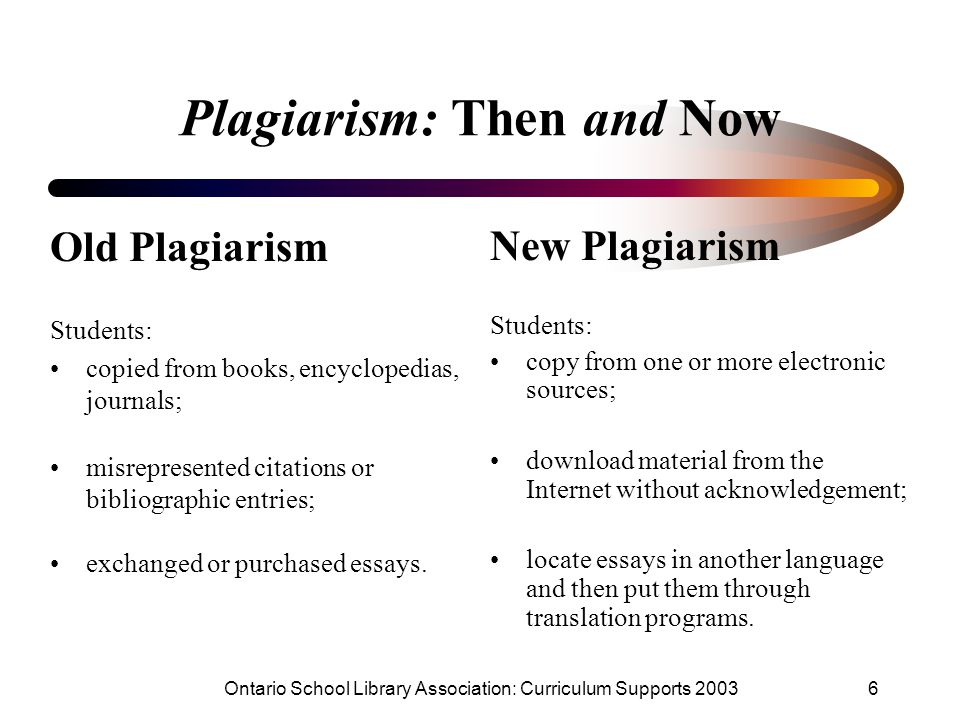 Ontario School Library Association: Curriculum Supports 20036 Plagiarism: Then and Now Old Plagiarism Students: copied from books, encyclopedias, journals; misrepresented citations or bibliographic entries; exchanged or purchased essays.