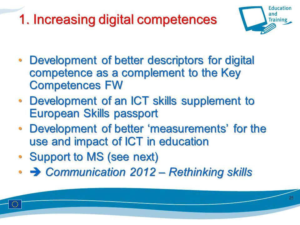 1. Increasing digital competences Development of better descriptors for digital competence as a complement to the Key Competences FW Development of an