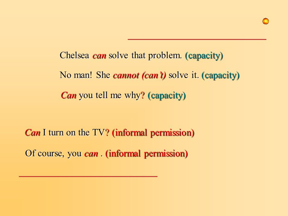 No man. She cannot (can't) solve it. (capacity) Chelsea can solve that problem.