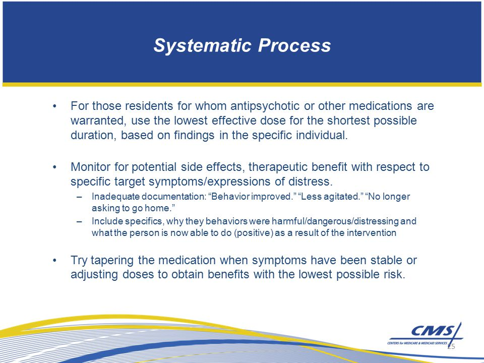 Systematic Process For those residents for whom antipsychotic or other medications are warranted, use the lowest effective dose for the shortest possible duration, based on findings in the specific individual.