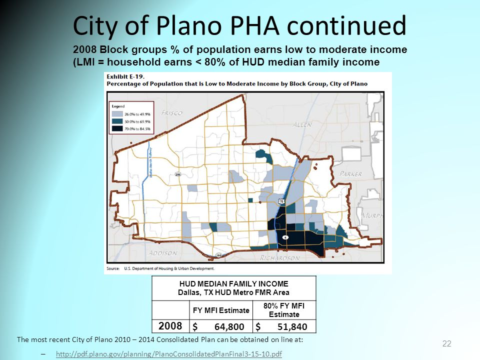 City of Plano PHA continued The most recent City of Plano 2010 – 2014 Consolidated Plan can be obtained on line at: – http://pdf.plano.gov/planning/PlanoConsolidatedPlanFinal3-15-10.pdf http://pdf.plano.gov/planning/PlanoConsolidatedPlanFinal3-15-10.pdf 22 2008 Block groups % of population earns low to moderate income (LMI = household earns < 80% of HUD median family income HUD MEDIAN FAMILY INCOME Dallas, TX HUD Metro FMR Area FY MFI Estimate 80% FY MFI Estimate 2008 $ 64,800 $ 51,840