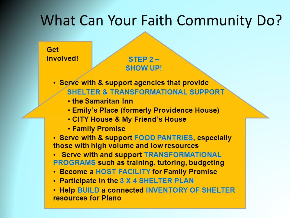 What Can Your Faith Community Do. Get involved.