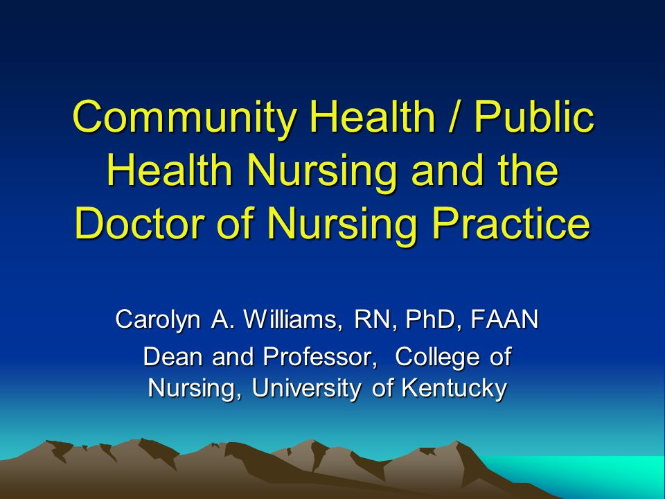 Community Health / Public Health Nursing and the Doctor of Nursing Practice Carolyn A.