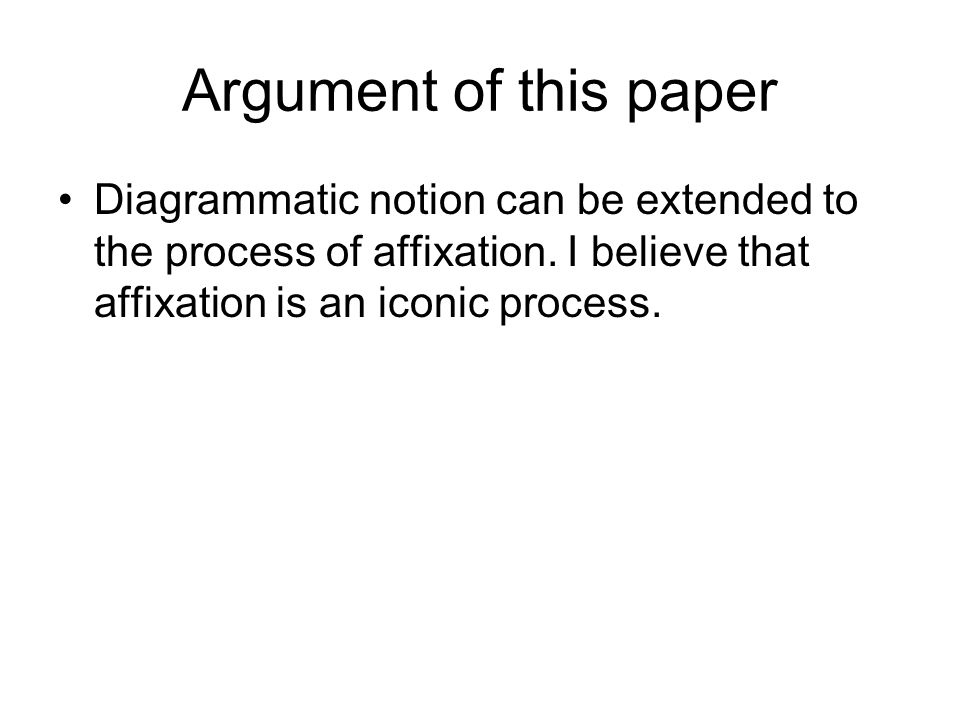 Argument of this paper Diagrammatic notion can be extended to the process of affixation.