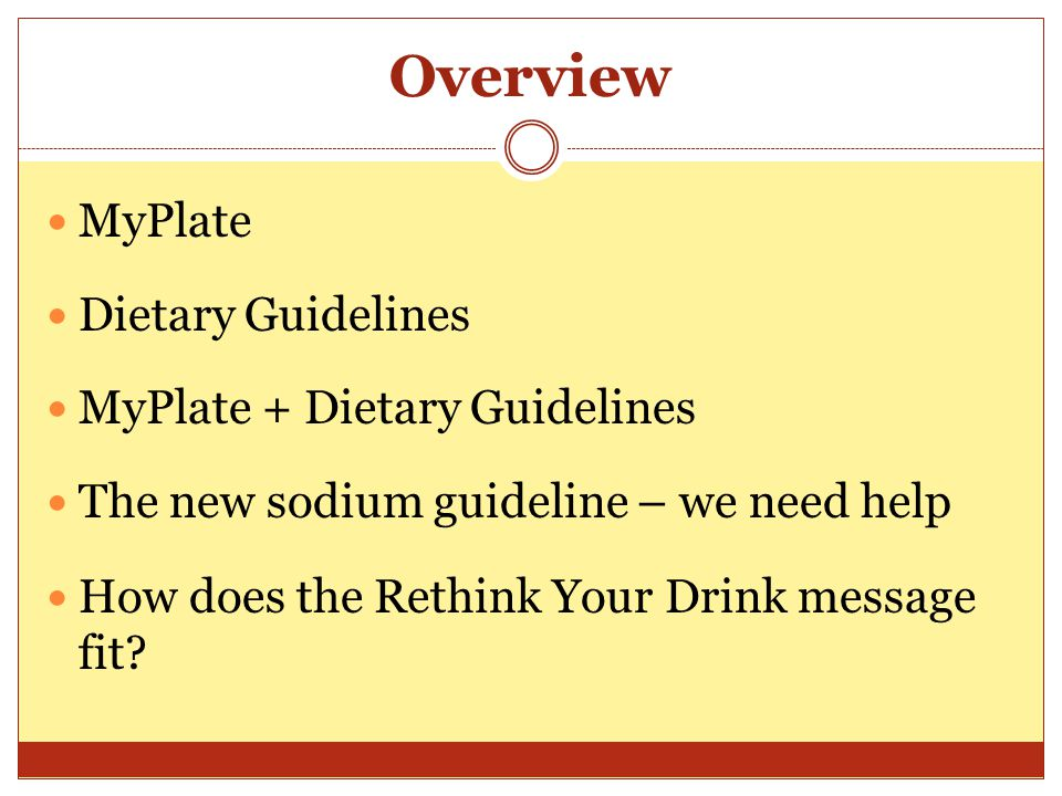 Overview MyPlate Dietary Guidelines MyPlate + Dietary Guidelines The new sodium guideline – we need help How does the Rethink Your Drink message fit