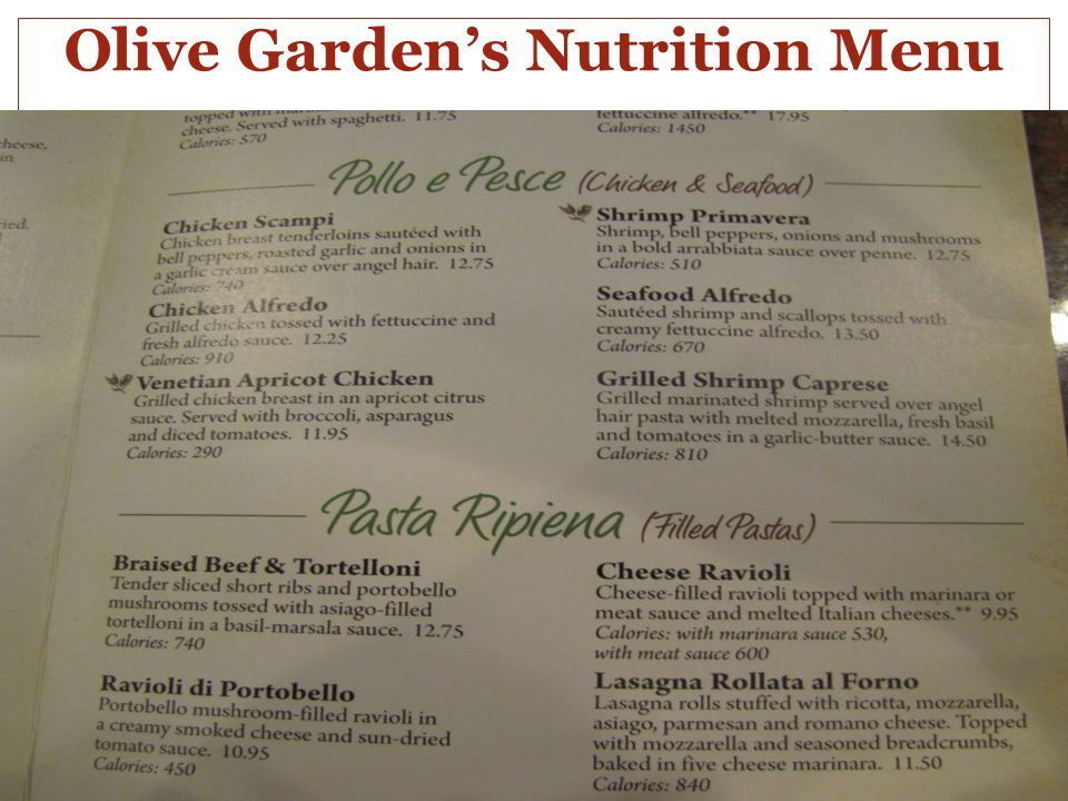 Olive Garden's Nutrition Menu