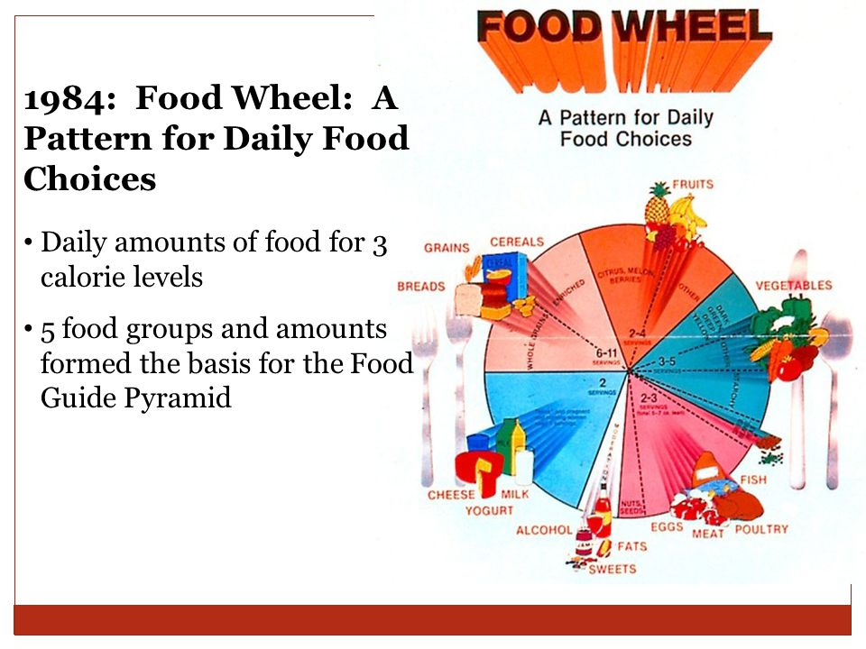 1984: Food Wheel: A Pattern for Daily Food Choices Daily amounts of food for 3 calorie levels 5 food groups and amounts formed the basis for the Food Guide Pyramid