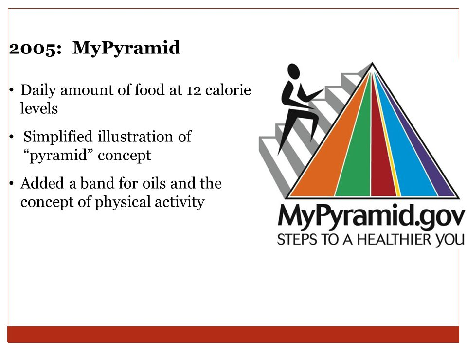 "2005: MyPyramid Daily amount of food at 12 calorie levels Simplified illustration of ""pyramid"" concept Added a band for oils and the concept of physic"
