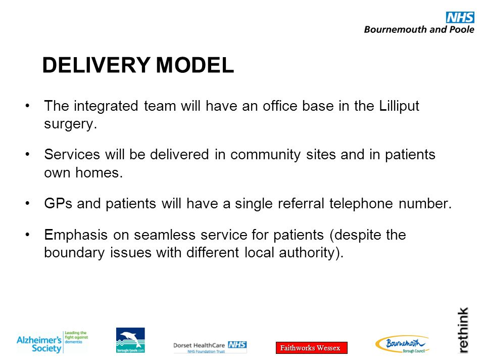 Faithworks Wessex DELIVERY MODEL The integrated team will have an office base in the Lilliput surgery. Services will be delivered in community sites a