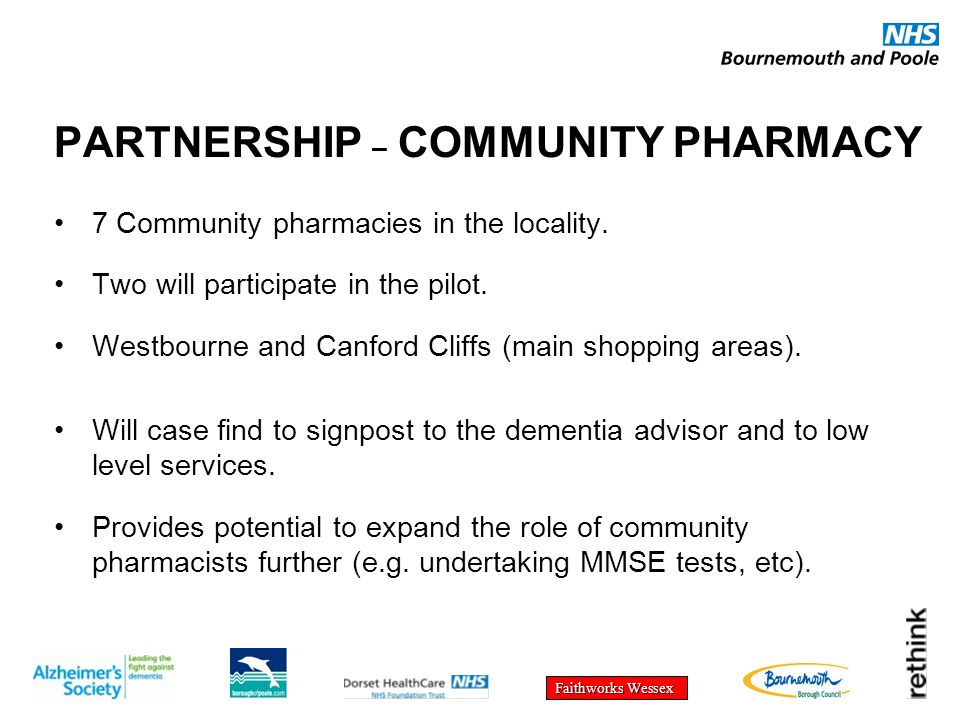 Faithworks Wessex PARTNERSHIP – COMMUNITY PHARMACY 7 Community pharmacies in the locality. Two will participate in the pilot. Westbourne and Canford C