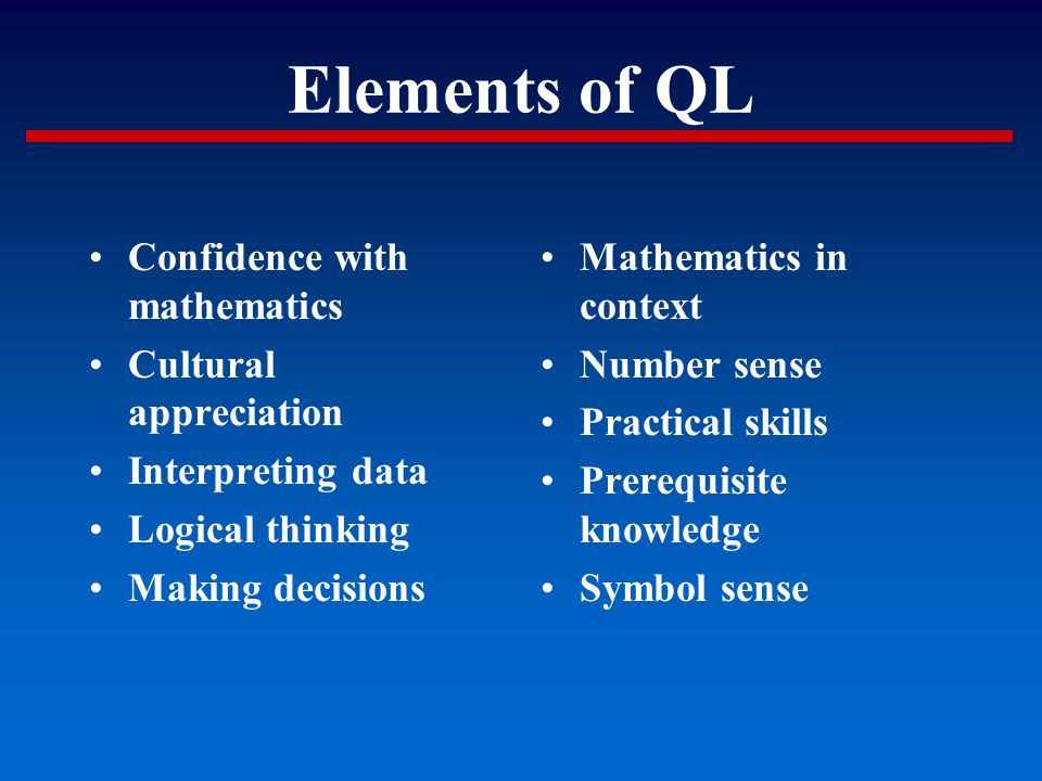 Elements of QL Confidence with mathematics Cultural appreciation Interpreting data Logical thinking Making decisions Mathematics in context Number sen
