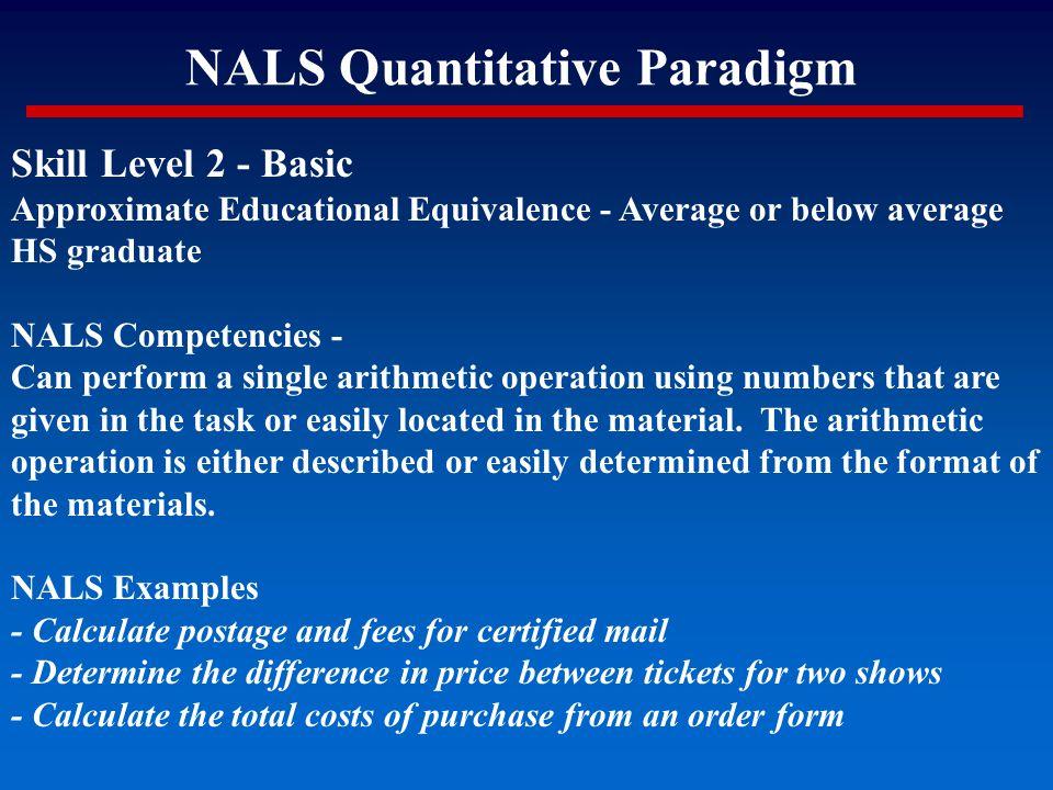 NALS Quantitative Paradigm Skill Level 2 - Basic Approximate Educational Equivalence - Average or below average HS graduate NALS Competencies - Can pe