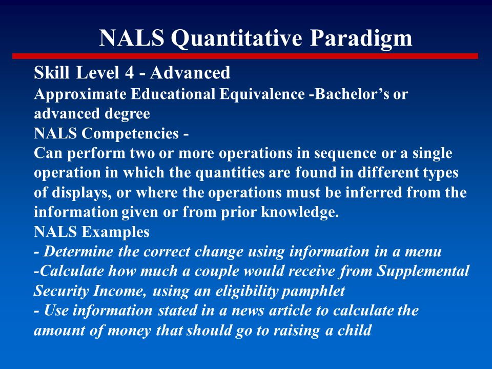 NALS Quantitative Paradigm Skill Level 4 - Advanced Approximate Educational Equivalence -Bachelor's or advanced degree NALS Competencies - Can perform