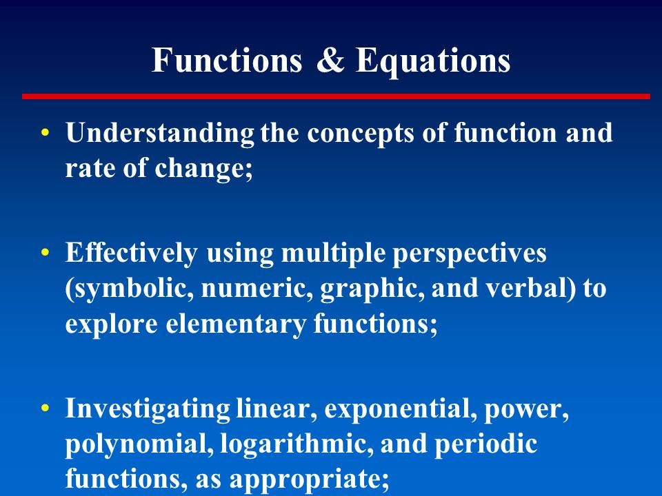 Understanding the concepts of function and rate of change; Effectively using multiple perspectives (symbolic, numeric, graphic, and verbal) to explore