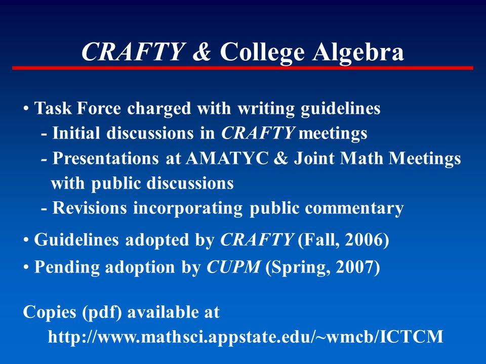 CRAFTY & College Algebra Task Force charged with writing guidelines - Initial discussions in CRAFTY meetings - Presentations at AMATYC & Joint Math Me