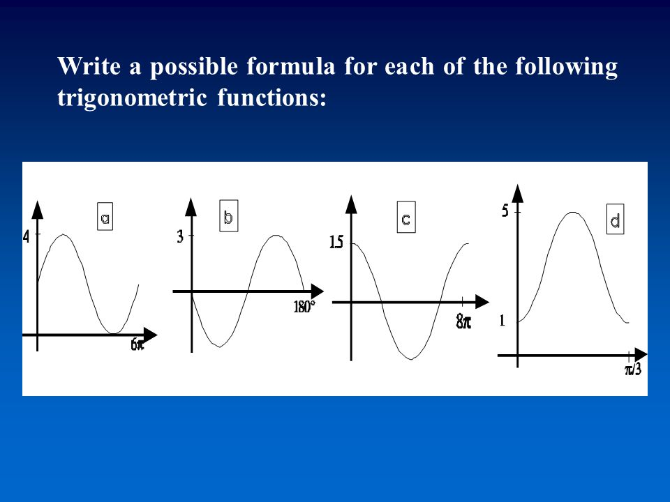 Write a possible formula for each of the following trigonometric functions: