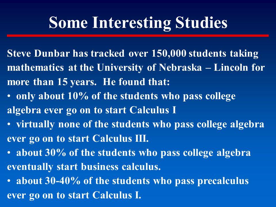 Some Interesting Studies Steve Dunbar has tracked over 150,000 students taking mathematics at the University of Nebraska – Lincoln for more than 15 ye