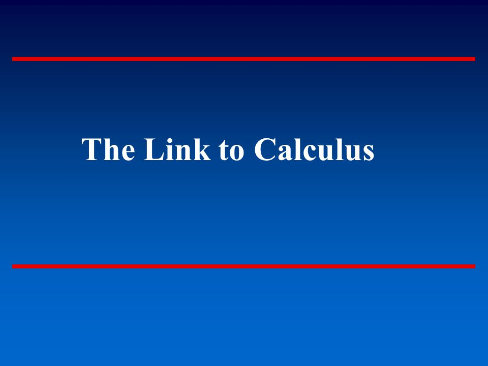 The Link to Calculus