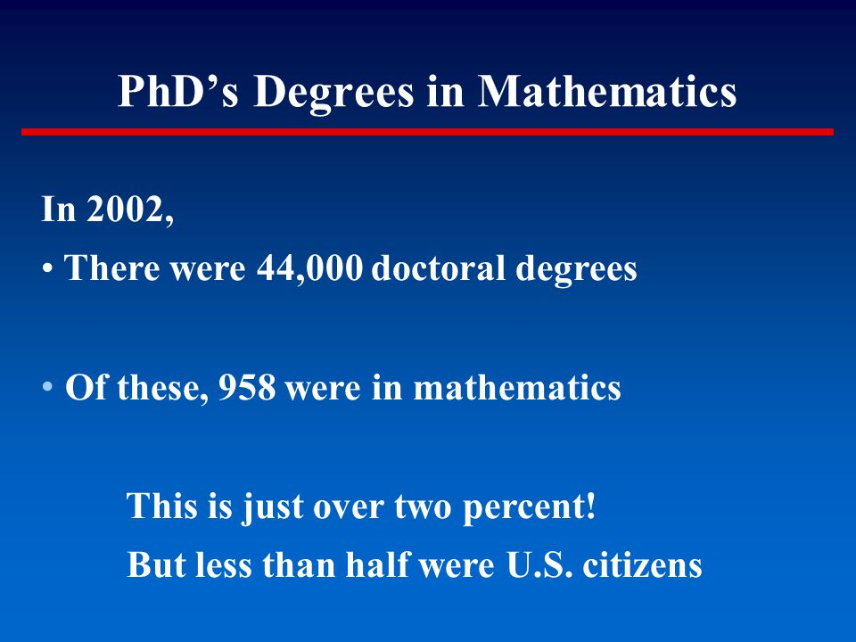 PhD's Degrees in Mathematics In 2002, There were 44,000 doctoral degrees Of these, 958 were in mathematics This is just over two percent! But less tha
