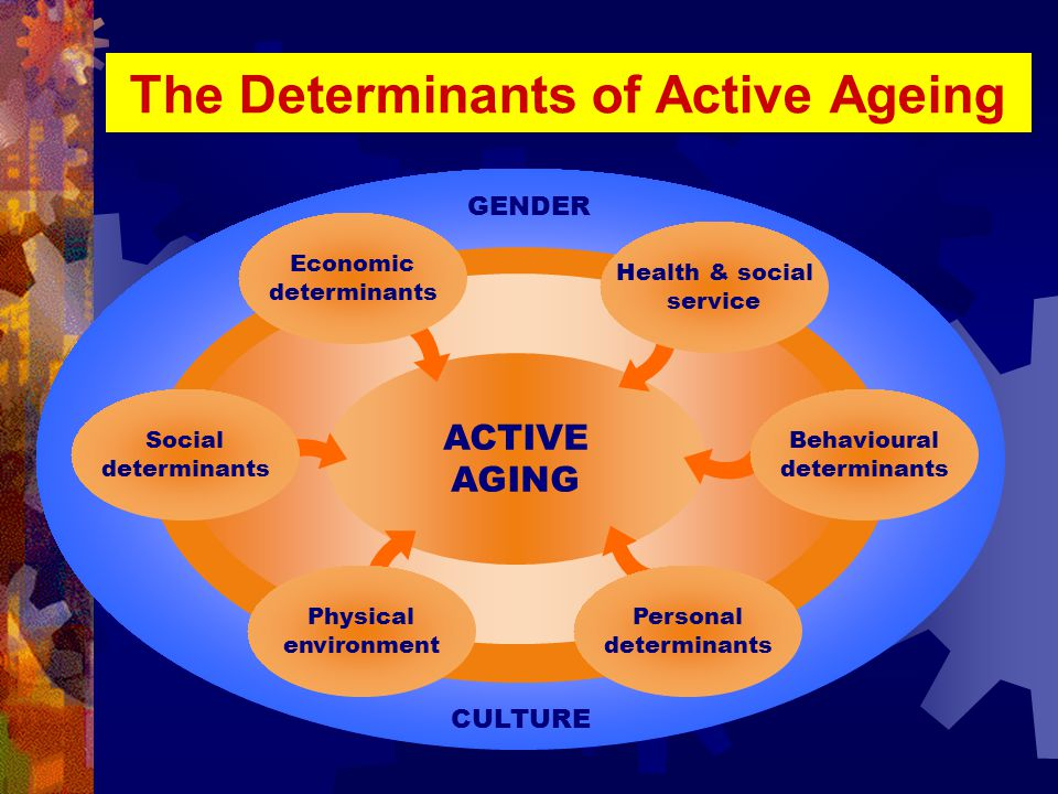 The Determinants of Active Ageing ACTIVE AGING CULTURE GENDER Economic determinants Social determinants Behavioural determinants Health & social service Physical environment Personal determinants