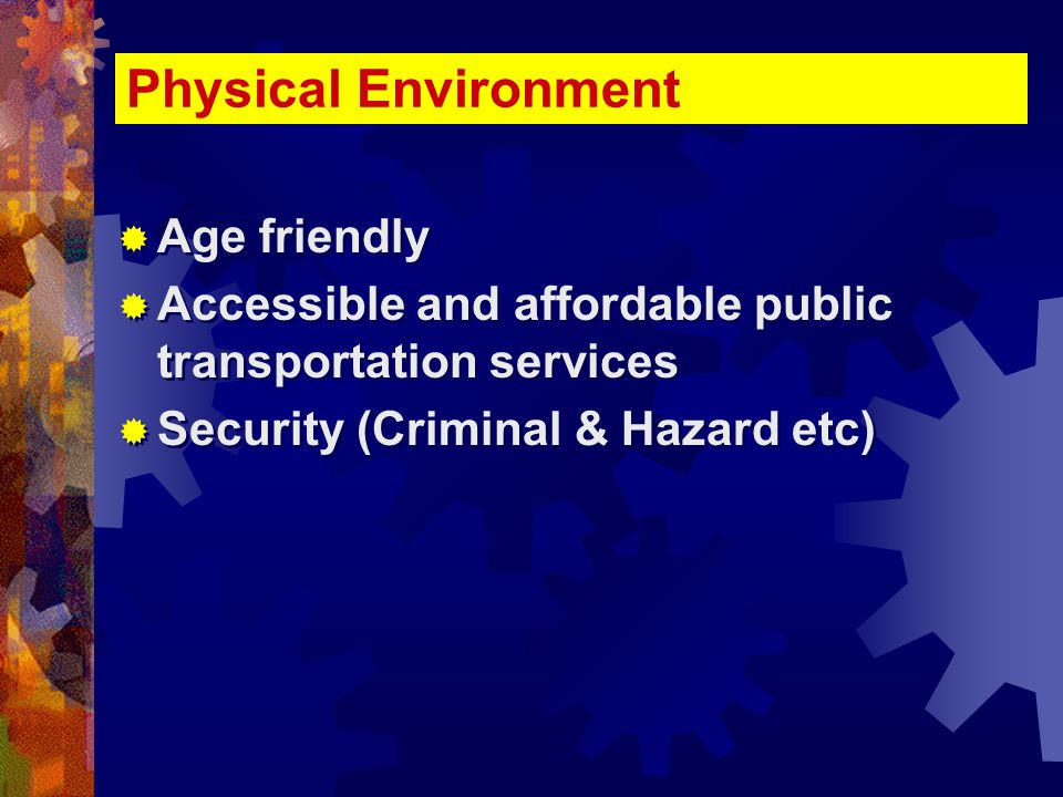 Physical Environment  Age friendly  Accessible and affordable public transportation services  Security (Criminal & Hazard etc)  Age friendly  Accessible and affordable public transportation services  Security (Criminal & Hazard etc)