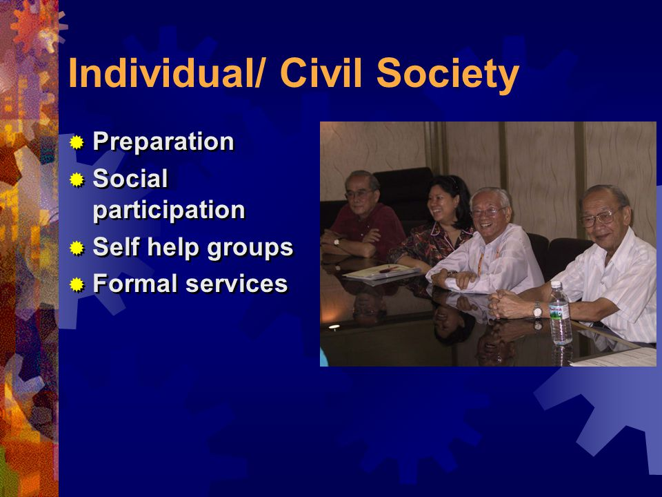 Individual/ Civil Society  Preparation  Social participation  Self help groups  Formal services  Preparation  Social participation  Self help groups  Formal services