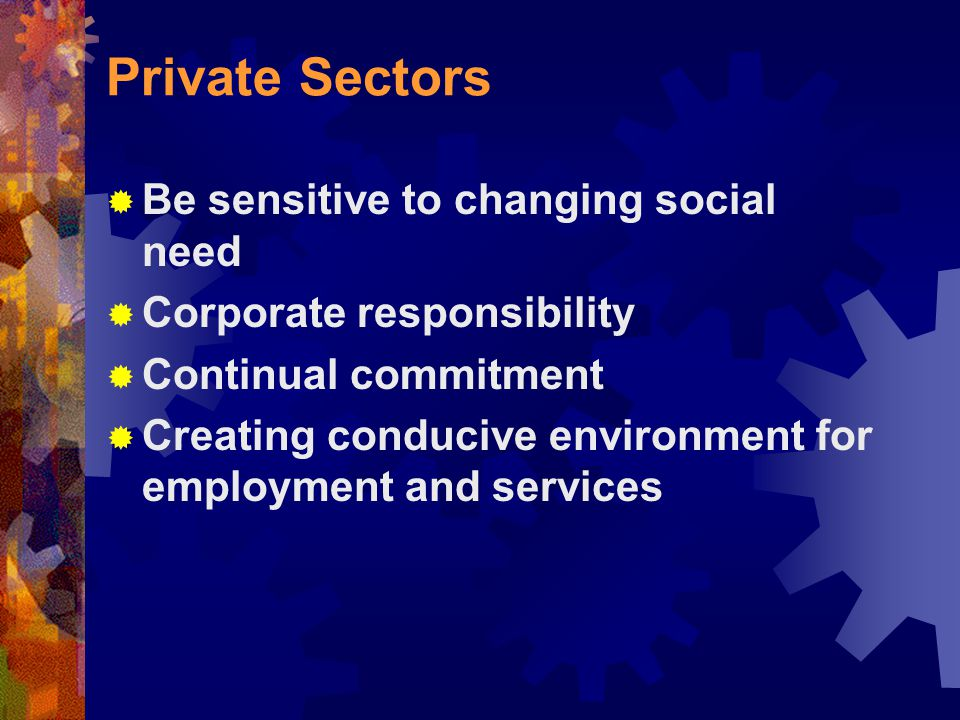 Private Sectors  Be sensitive to changing social need  Corporate responsibility  Continual commitment  Creating conducive environment for employment and services