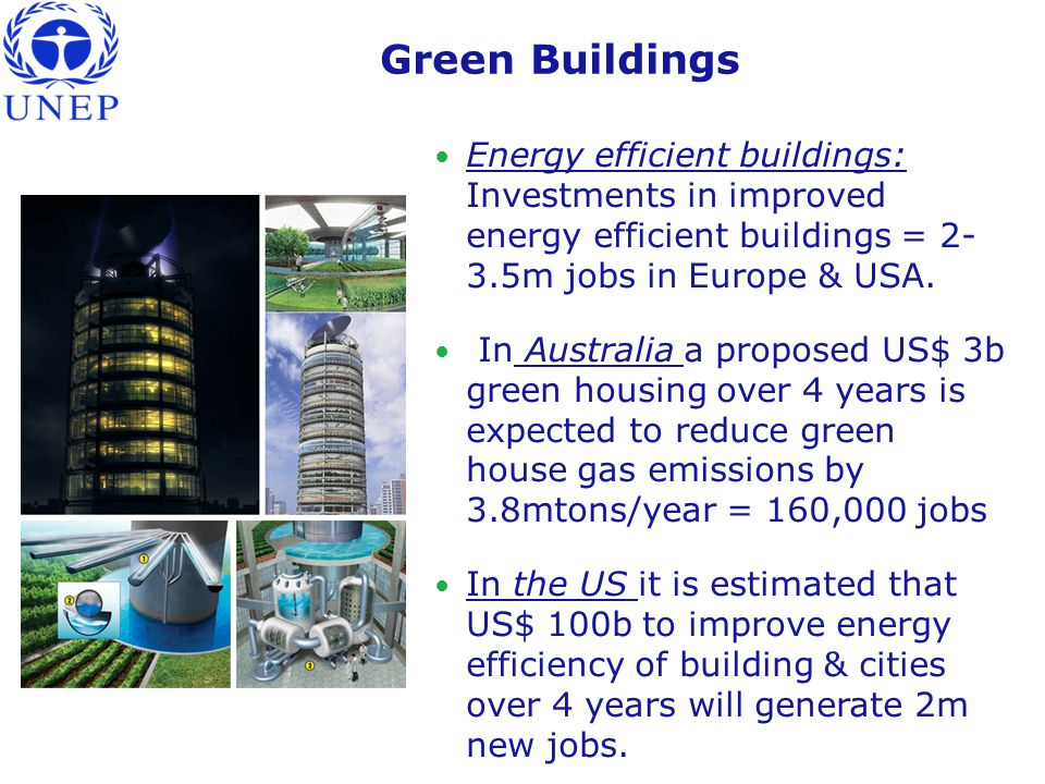 Green Buildings Energy efficient buildings: Investments in improved energy efficient buildings = 2- 3.5m jobs in Europe & USA.
