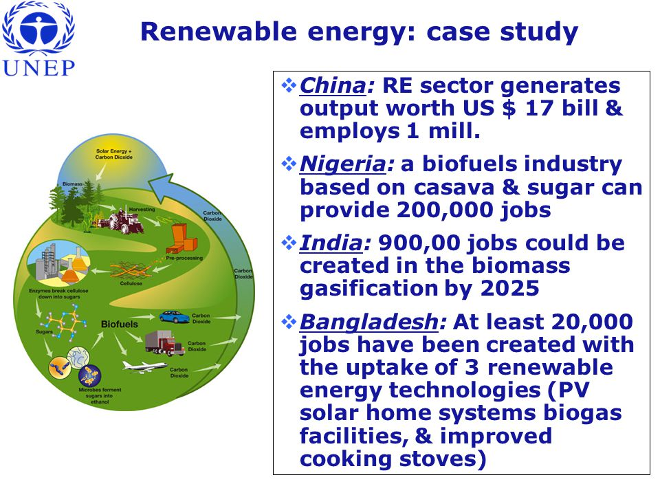 Renewable energy: case study  China: RE sector generates output worth US $ 17 bill & employs 1 mill.