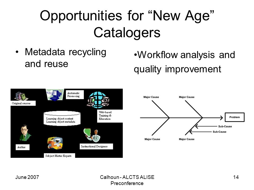 June 2007Calhoun - ALCTS ALISE Preconference 14 Opportunities for New Age Catalogers Metadata recycling and reuse Workflow analysis and quality improvement