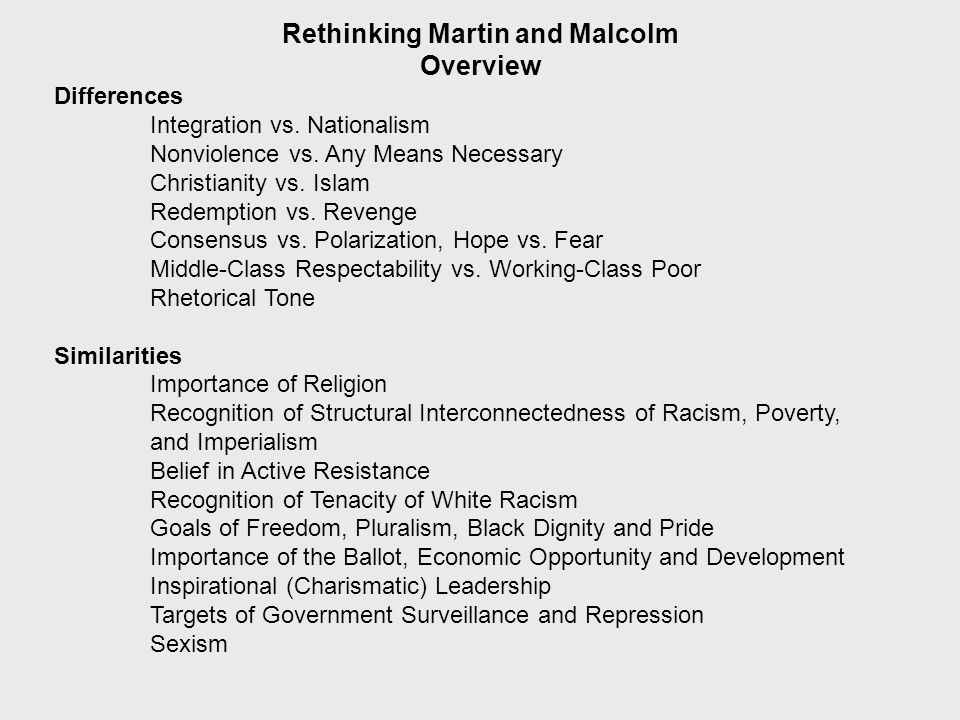 Rethinking Martin and Malcolm Overview Importance of Context King: Pre and Post 1965 Malcolm X: Pre and Post Early 1950s and Pre and Post 1964 Interconnectedness Good Cop vs.