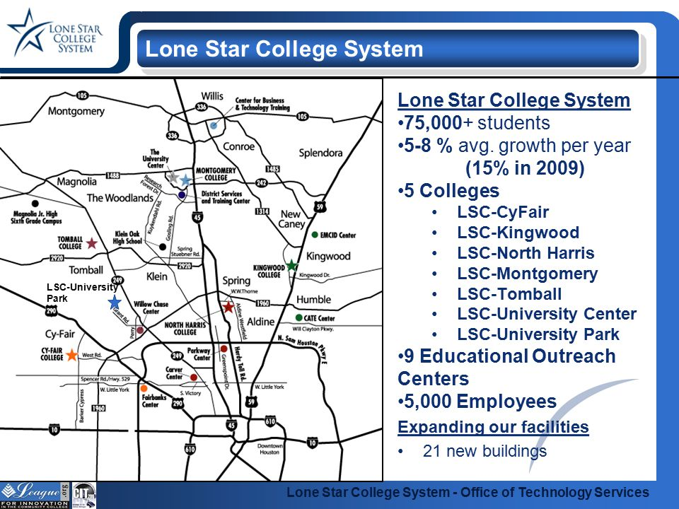 Lone Star College System - Office of Technology Services Restructured May of 2008 6 entities into 1 140 staff members Supported Systems 12,000+ desktop systems 4,800+ network devices 475+ file servers 30 Major Technology Initiatives Office of Technology Services IT Governance Formal Governance Structure Strategic Plan for IT Guiding Principles Customer Satisfaction 5-Nines Service Delivery Enterprise Standards Key Performance Indicators Financial Operational Strategic Open Executive Reporting