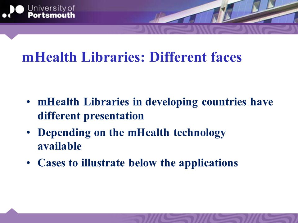 Proposed Model: Context and Technology mHealth-Libraries Technology HEALTH WORKER Human & Organisational issues mHealth-Libraries Integration Interoperability Connectivity Access Mobility EHR Facility & Community Levels CMEHMISDDS Mobile Devices mHealth-Libraries Technology Mobile Devices EHR CME HEALTH WORKER HMISDDS
