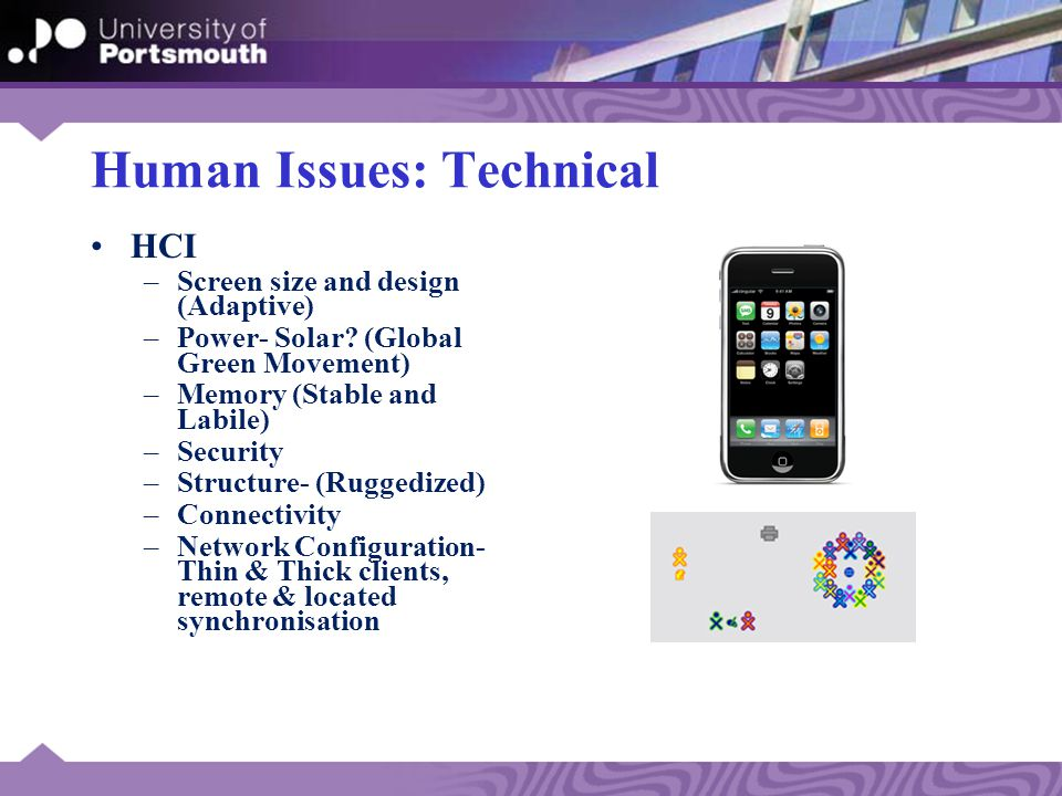 Human Issues: Technical HCI –Screen size and design (Adaptive) –Power- Solar.