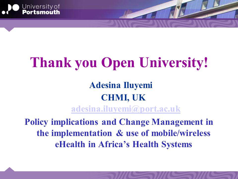Thank you Open University.