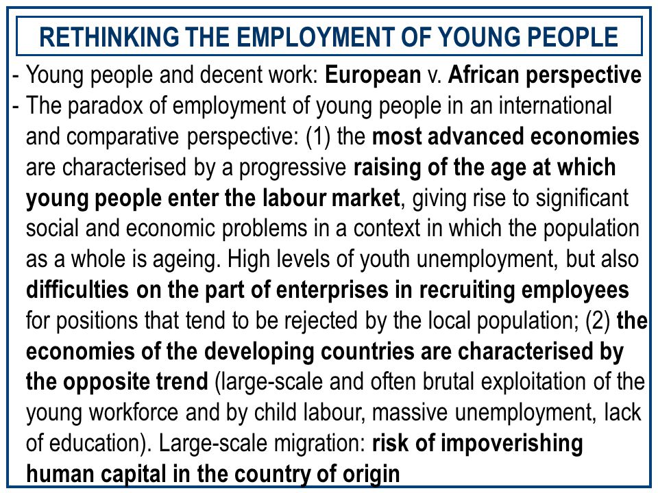 -The employment trends of young people: what do we know.