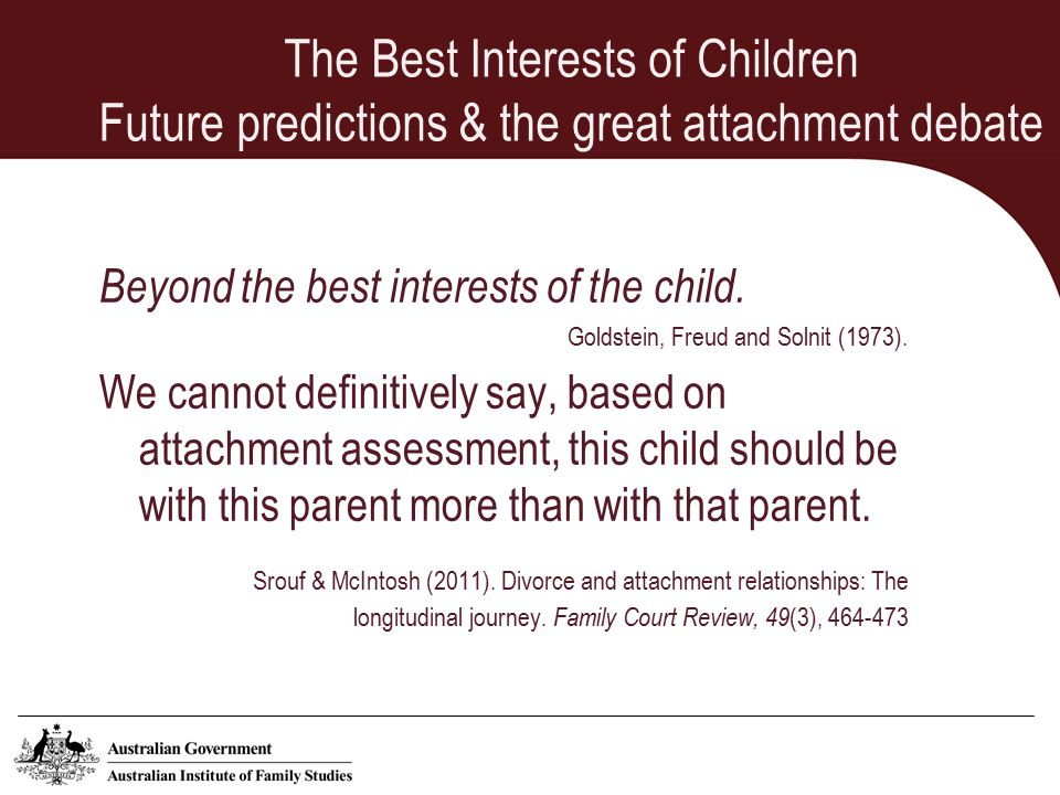The Best Interests of Children Future predictions & the great attachment debate Beyond the best interests of the child.