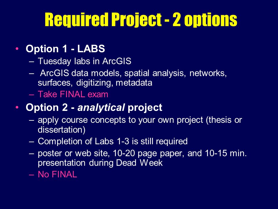 Required Project - 2 options Option 1 - LABS –Tuesday labs in ArcGIS – ArcGIS data models, spatial analysis, networks, surfaces, digitizing, metadata –Take FINAL exam Option 2 - analytical project –apply course concepts to your own project (thesis or dissertation) –Completion of Labs 1-3 is still required –poster or web site, 10-20 page paper, and 10-15 min.
